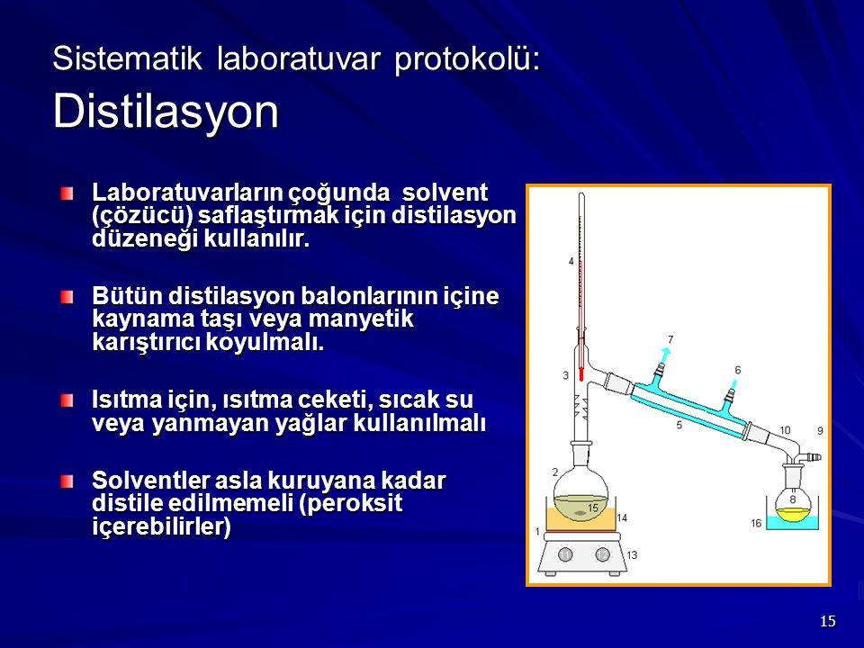 15 Sistematik laboratuvar protokolü: Distilasyon Laboratuvarların çoğunda solvent (çözücü) saflaştırmak için distilasyon düzeneği kullanılır. Bütün di