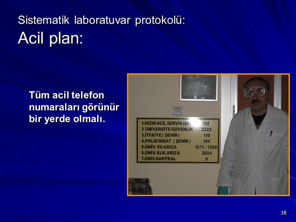 18 Sistematik laboratuvar protokolü: Acil plan: Tüm acil telefon numaraları görünür bir yerde olmalı.