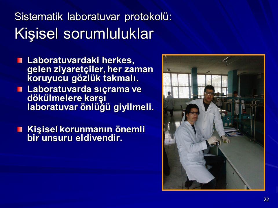 22 Sistematik laboratuvar protokolü: Kişisel sorumluluklar Laboratuvardaki herkes, gelen ziyaretçiler, her zaman koruyucu gözlük takmalı. Laboratuvard
