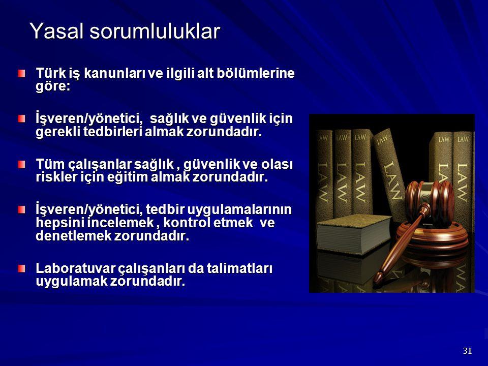 31 Yasal sorumluluklar Türk iş kanunları ve ilgili alt bölümlerine göre: İşveren/yönetici, sağlık ve güvenlik için gerekli tedbirleri almak zorundadır