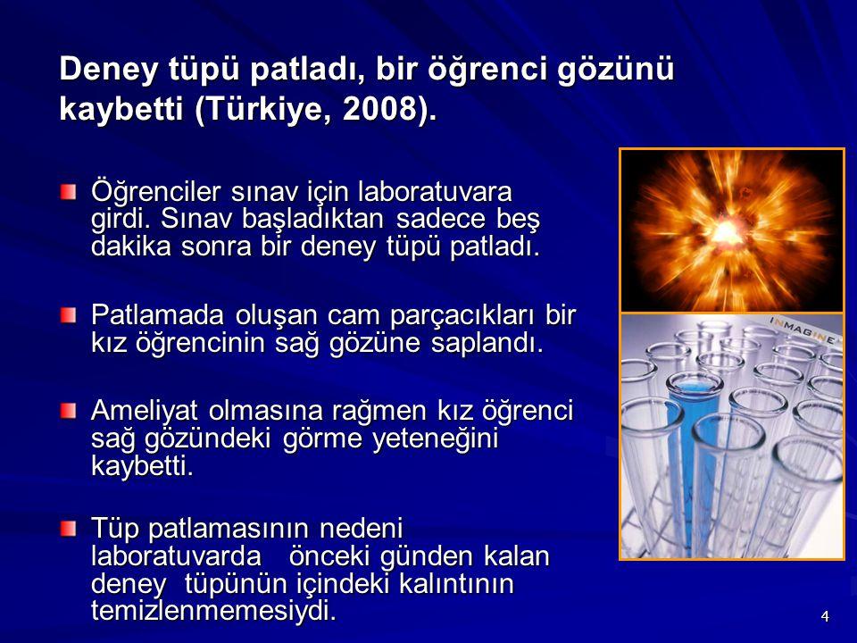 4 Deney tüpü patladı, bir öğrenci gözünü kaybetti (Türkiye, 2008). Öğrenciler sınav için laboratuvara girdi. Sınav başladıktan sadece beş dakika sonra