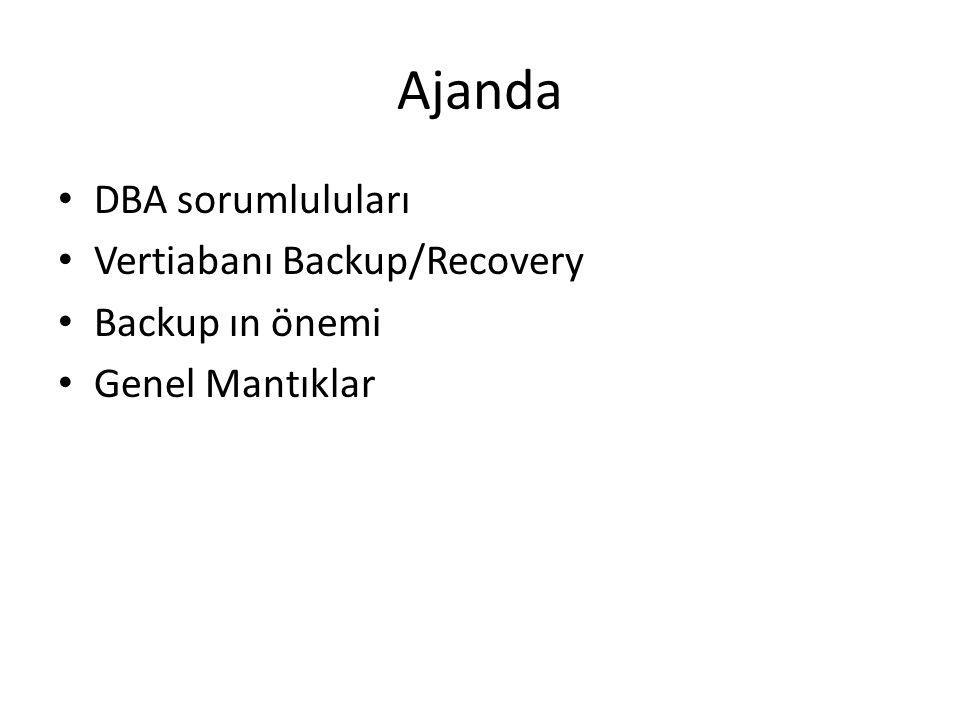 Ajanda DBA sorumluluları Vertiabanı Backup/Recovery Backup ın önemi Genel Mantıklar
