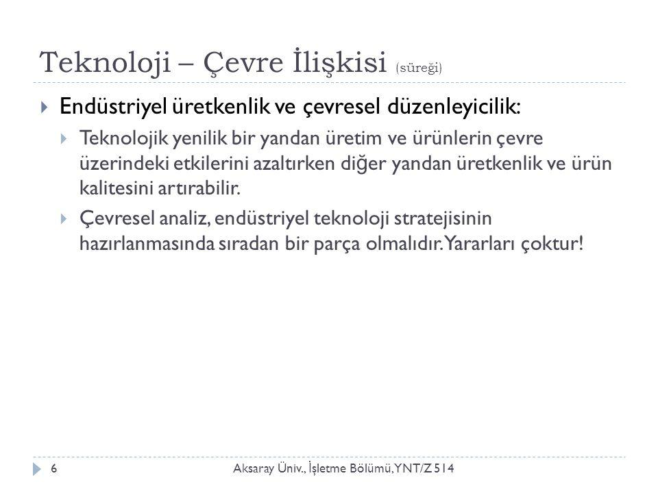 Teknoloji – Çevre İlişkisi (süreği) Aksaray Üniv., İ şletme Bölümü, YNT/Z 5146  Endüstriyel üretkenlik ve çevresel düzenleyicilik:  Teknolojik yenil