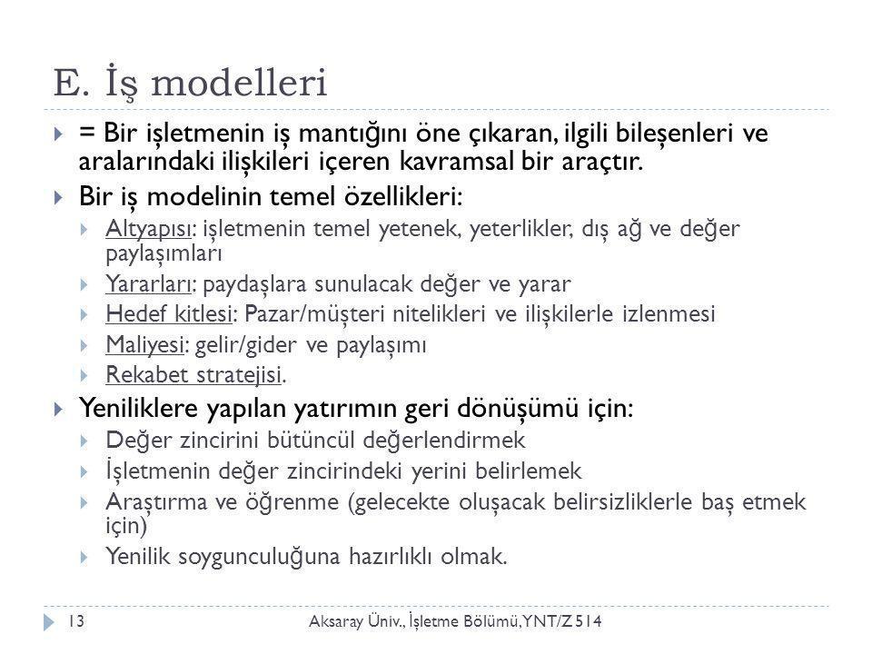 E. İş modelleri Aksaray Üniv., İ şletme Bölümü, YNT/Z 51413  = Bir işletmenin iş mantı ğ ını öne çıkaran, ilgili bileşenleri ve aralarındaki ilişkile
