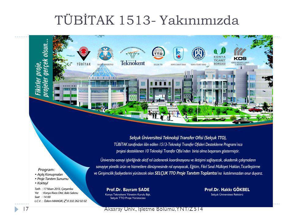 TÜBİTAK 1513- Yakınımızda Aksaray Üniv., İ şletme Bölümü, YNT/Z 51417