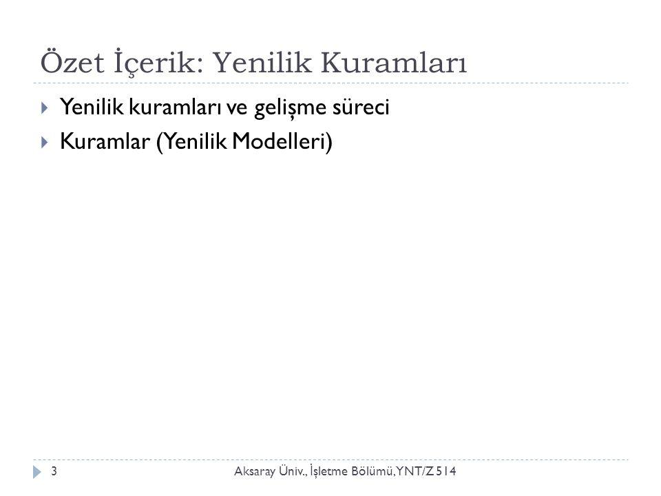 Özet İçerik: Yenilik Kuramları Aksaray Üniv., İ şletme Bölümü, YNT/Z 5143  Yenilik kuramları ve gelişme süreci  Kuramlar (Yenilik Modelleri)