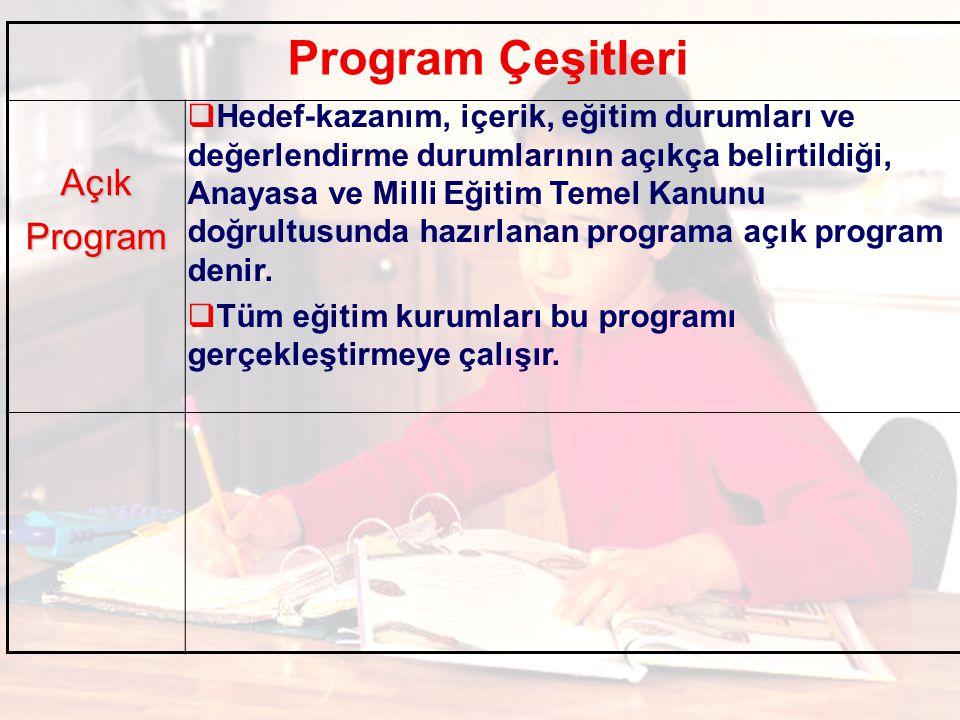 Program Çeşitleri AçıkProgram  Hedef-kazanım, içerik, eğitim durumları ve değerlendirme durumlarının açıkça belirtildiği, Anayasa ve Milli Eğitim Temel Kanunu doğrultusunda hazırlanan programa açık program denir.