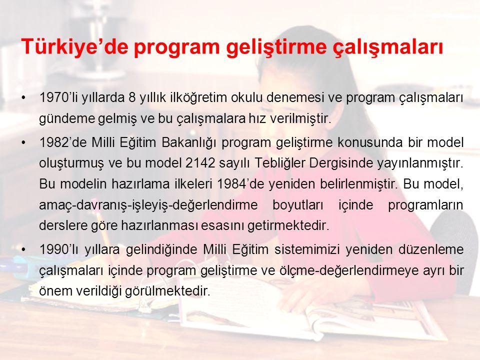Türkiye'de program geliştirme çalışmaları 1970'li yıllarda 8 yıllık ilköğretim okulu denemesi ve program çalışmaları gündeme gelmiş ve bu çalışmalara hız verilmiştir.