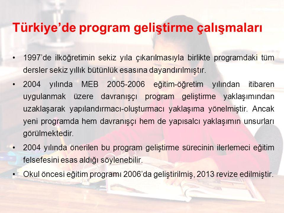 Türkiye'de program geliştirme çalışmaları 1997'de ilköğretimin sekiz yıla çıkarılmasıyla birlikte programdaki tüm dersler sekiz yıllık bütünlük esasına dayandırılmıştır.
