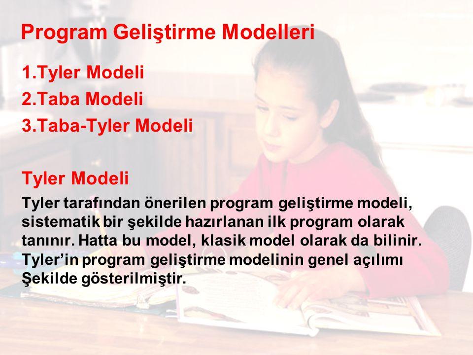 Program Geliştirme Modelleri 1.Tyler Modeli 2.Taba Modeli 3.Taba-Tyler Modeli Tyler Modeli Tyler tarafından önerilen program geliştirme modeli, sistematik bir şekilde hazırlanan ilk program olarak tanınır.