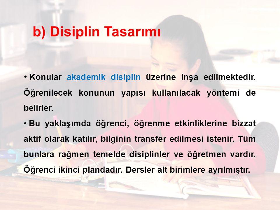 Konular akademik disiplin üzerine inşa edilmektedir.