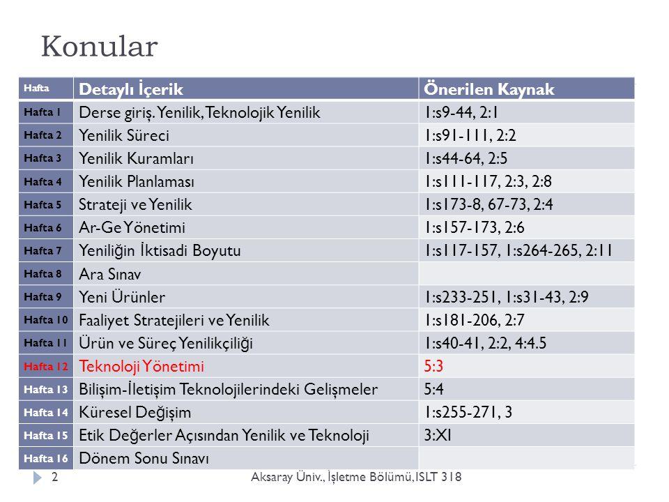 Konular Aksaray Üniv., İ şletme Bölümü, ISLT 3182 Hafta Detaylı İ çerik Önerilen Kaynak Hafta 1 Derse giriş. Yenilik, Teknolojik Yenilik 1:s9-44, 2:1