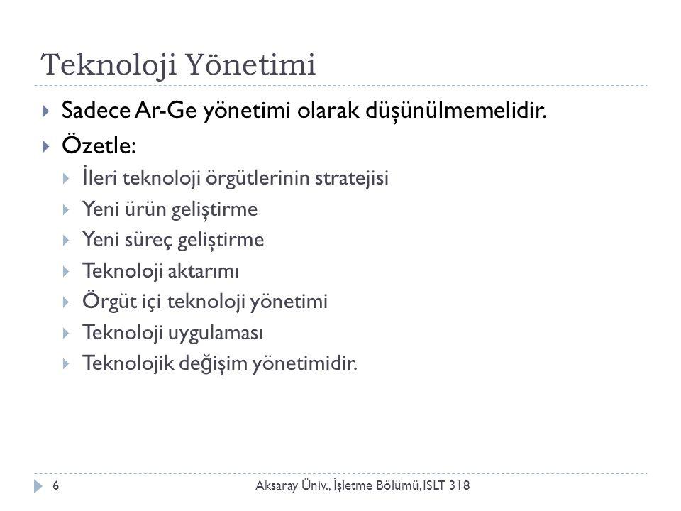 Teknoloji Yönetimi Aksaray Üniv., İ şletme Bölümü, ISLT 3186  Sadece Ar-Ge yönetimi olarak düşünülmemelidir.
