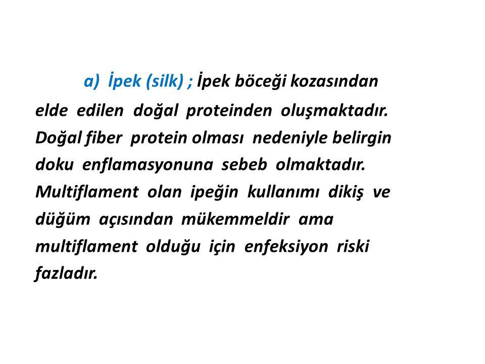 a) İpek (silk) ; İpek böceği kozasından elde edilen doğal proteinden oluşmaktadır. Doğal fiber protein olması nedeniyle belirgin doku enflamasyonuna s