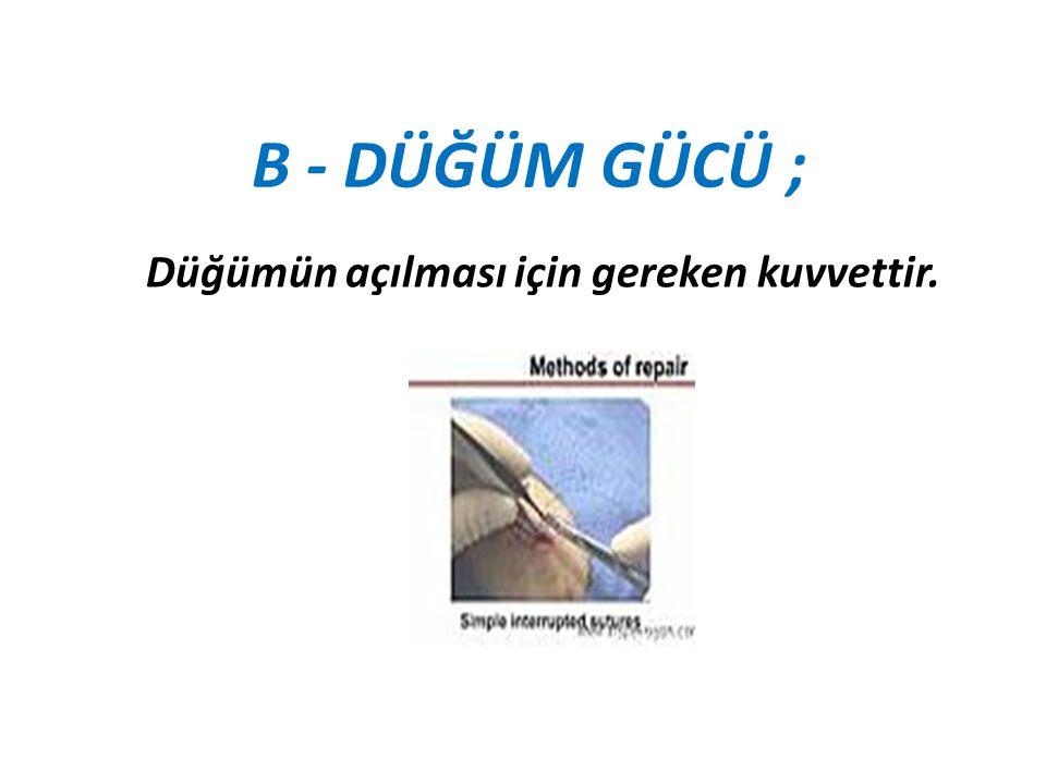 C - KAPİLARİTE ; Sütürün fiziksel konfigürasyonu (yapısı) ile ilgilidir.