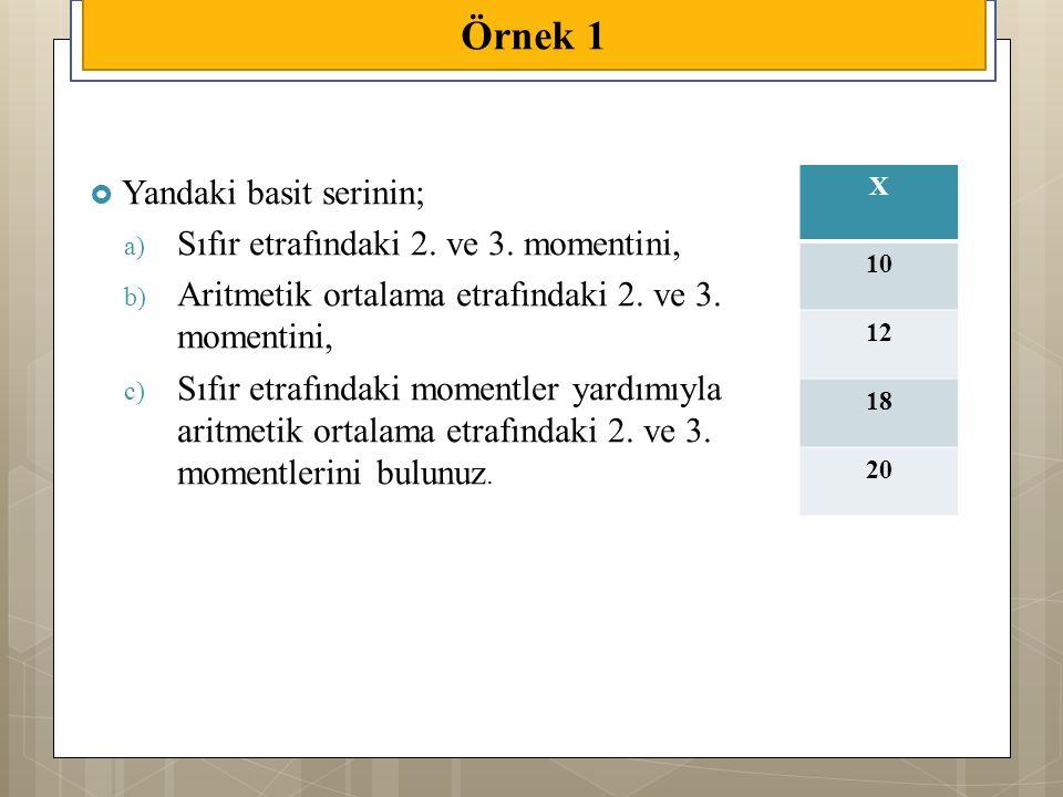  Yandaki basit serinin; a) Sıfır etrafındaki 2. ve 3. momentini, b) Aritmetik ortalama etrafındaki 2. ve 3. momentini, c) Sıfır etrafındaki momentler