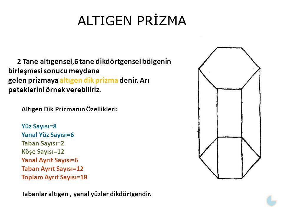 2 Tane altıgensel,6 tane dikdörtgensel bölgenin birleşmesi sonucu meydana gelen prizmaya altıgen dik prizma denir. Arı peteklerini örnek verebiliriz.