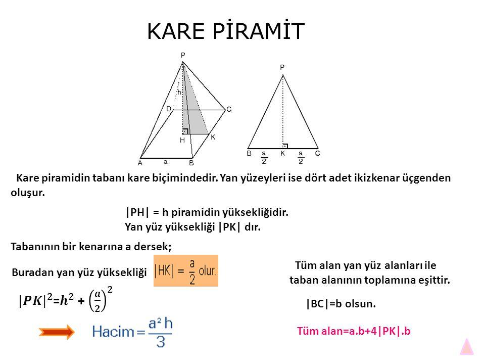 KARE PİRAMİT Kare piramidin tabanı kare biçimindedir. Yan yüzeyleri ise dört adet ikizkenar üçgenden oluşur. |PH| = h piramidin yüksekliğidir. Yan yüz
