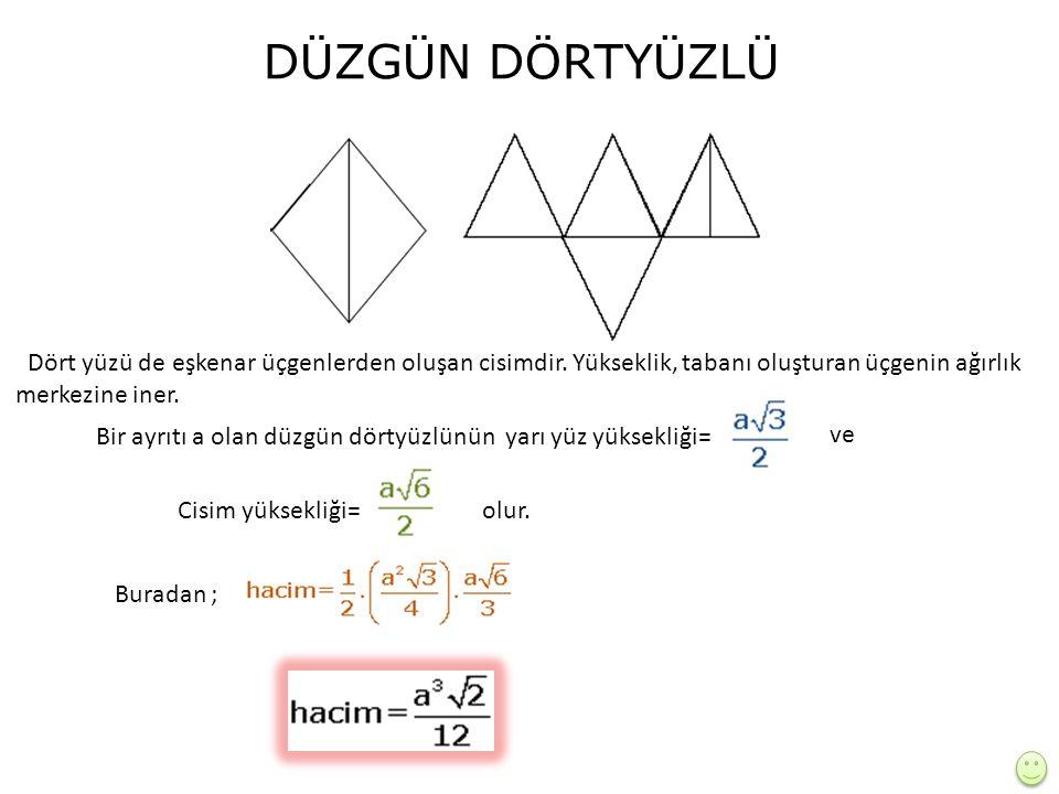 DÜZGÜN DÖRTYÜZLÜ Dört yüzü de eşkenar üçgenlerden oluşan cisimdir.
