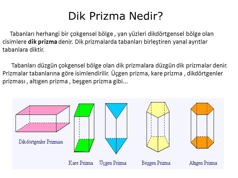 Dik Prizma Nedir? Tabanları herhangi bir çokgensel bölge, yan yüzleri dikdörtgensel bölge olan cisimlere dik prizma denir. Dik prizmalarda tabanları b
