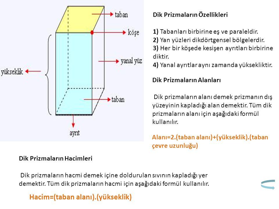 Dik Prizmaların Özellikleri 1) Tabanları birbirine eş ve paraleldir. 2) Yan yüzleri dikdörtgensel bölgelerdir. 3) Her bir köşede kesişen ayrıtları bir