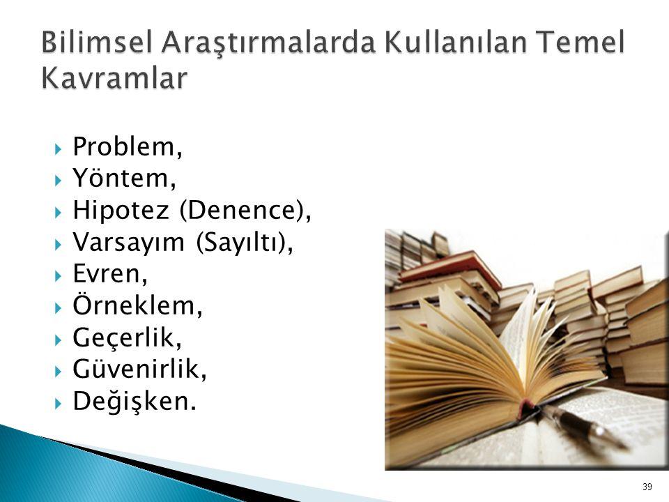  Problem,  Yöntem,  Hipotez (Denence),  Varsayım (Sayıltı),  Evren,  Örneklem,  Geçerlik,  Güvenirlik,  Değişken. 39