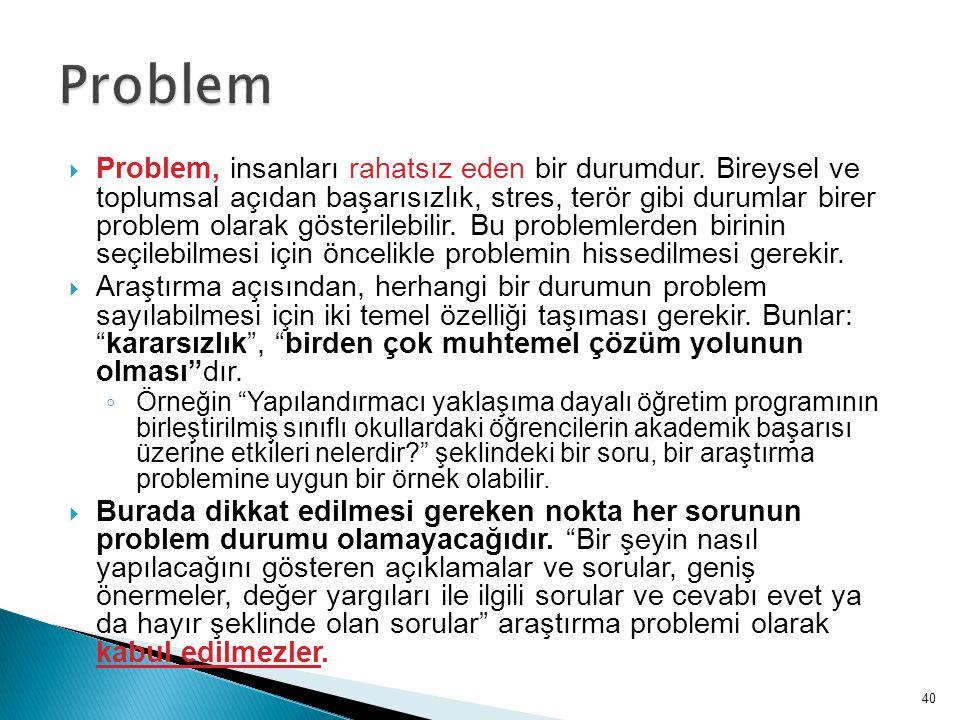  Problem, insanları rahatsız eden bir durumdur. Bireysel ve toplumsal açıdan başarısızlık, stres, terör gibi durumlar birer problem olarak gösterileb