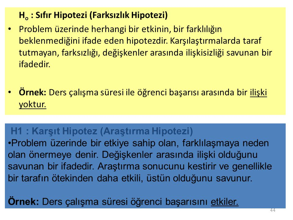 H o : Sıfır Hipotezi (Farksızlık Hipotezi) Problem üzerinde herhangi bir etkinin, bir farklılığın beklenmediğini ifade eden hipotezdir.