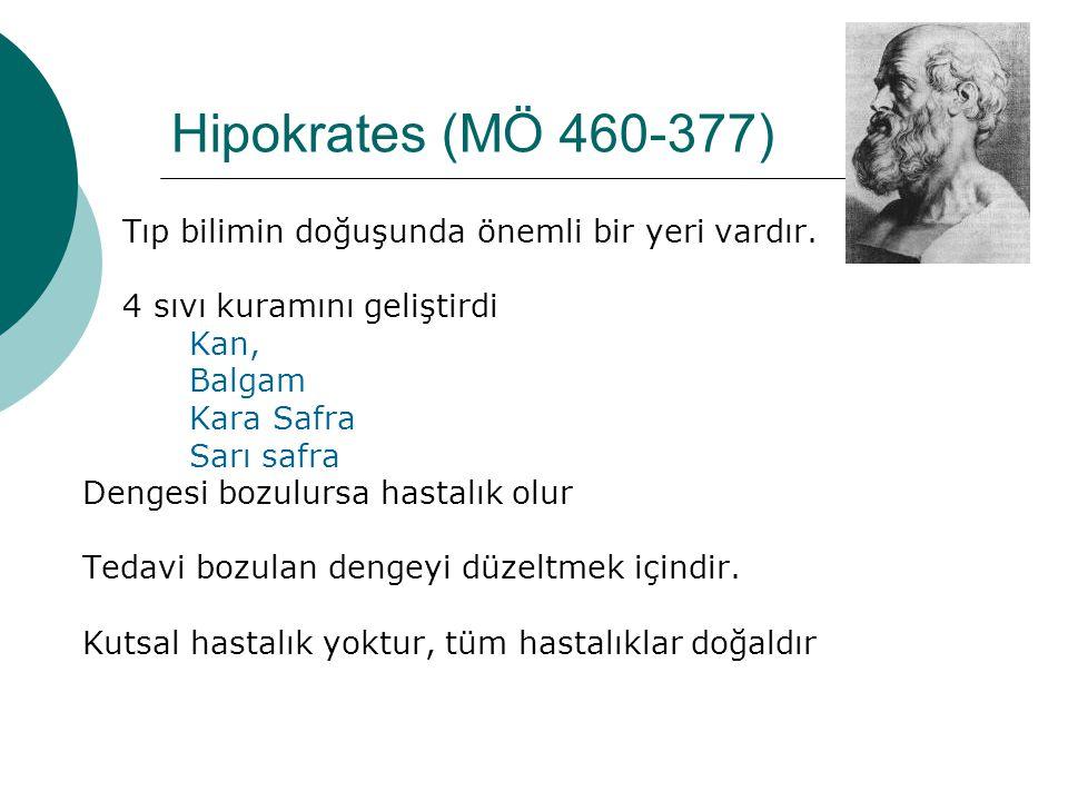 Hipokrates (MÖ 460-377) Tıp bilimin doğuşunda önemli bir yeri vardır.