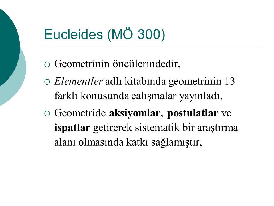Eucleides (MÖ 300)  Geometrinin öncülerindedir,  Elementler adlı kitabında geometrinin 13 farklı konusunda çalışmalar yayınladı,  Geometride aksiyomlar, postulatlar ve ispatlar getirerek sistematik bir araştırma alanı olmasında katkı sağlamıştır,