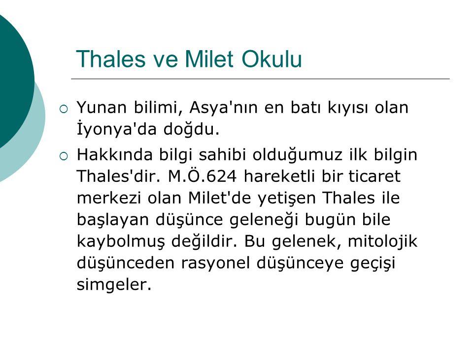 Thales ve Milet Okulu  Yunan bilimi, Asya nın en batı kıyısı olan İyonya da doğdu.