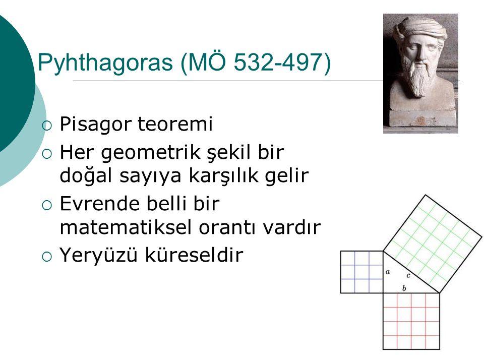 Pyhthagoras (MÖ 532-497)  Pisagor teoremi  Her geometrik şekil bir doğal sayıya karşılık gelir  Evrende belli bir matematiksel orantı vardır  Yeryüzü küreseldir