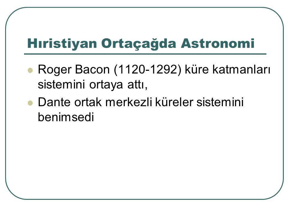 Hıristiyan Ortaçağda Astronomi Roger Bacon (1120-1292) küre katmanları sistemini ortaya attı, Dante ortak merkezli küreler sistemini benimsedi