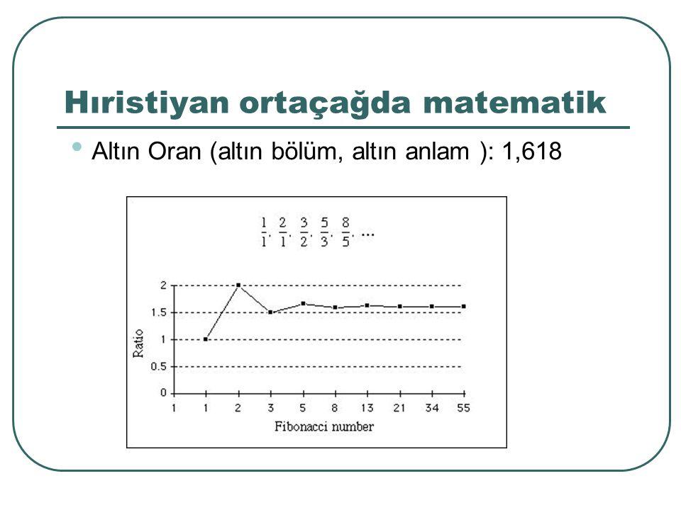 Hıristiyan ortaçağda matematik Altın Oran (altın bölüm, altın anlam ): 1,618