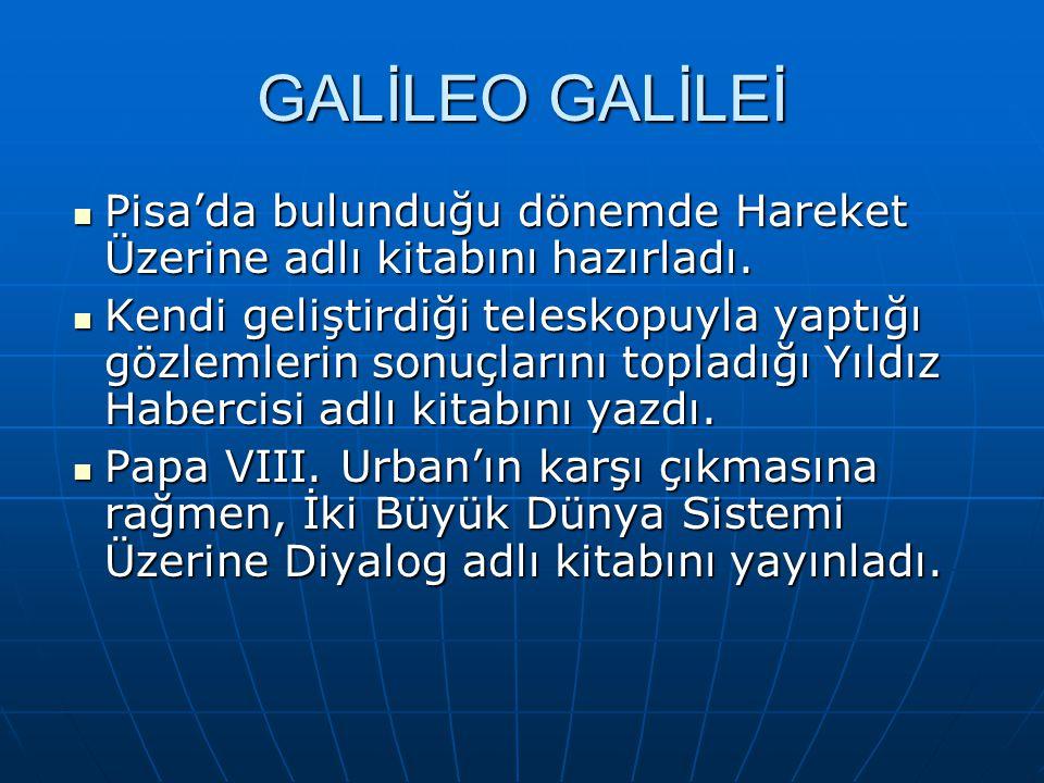 GALİLEO GALİLEİ Pisa'da bulunduğu dönemde Hareket Üzerine adlı kitabını hazırladı.
