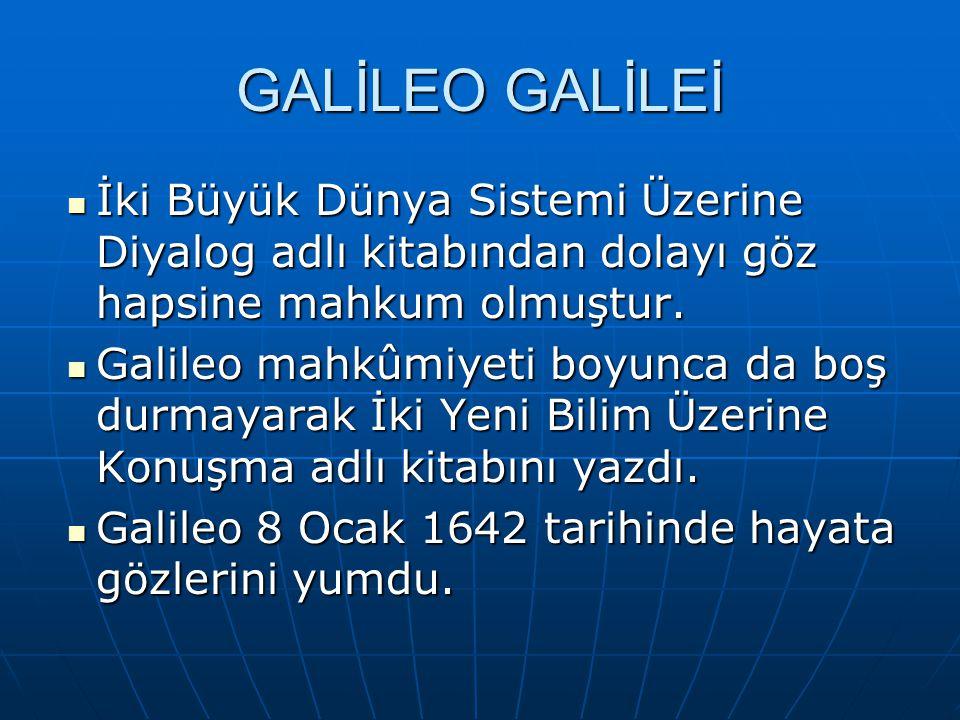 GALİLEO GALİLEİ İki Büyük Dünya Sistemi Üzerine Diyalog adlı kitabından dolayı göz hapsine mahkum olmuştur. İki Büyük Dünya Sistemi Üzerine Diyalog ad