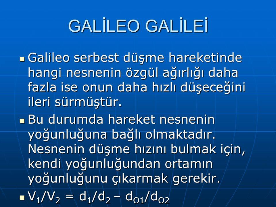 GALİLEO GALİLEİ Galileo serbest düşme hareketinde hangi nesnenin özgül ağırlığı daha fazla ise onun daha hızlı düşeceğini ileri sürmüştür.