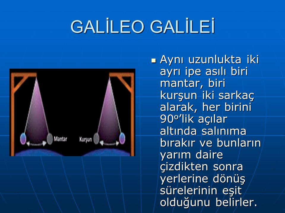 GALİLEO GALİLEİ Aynı uzunlukta iki ayrı ipe asılı biri mantar, biri kurşun iki sarkaç alarak, her birini 90 o 'lik açılar altında salınıma bırakır ve bunların yarım daire çizdikten sonra yerlerine dönüş sürelerinin eşit olduğunu belirler.
