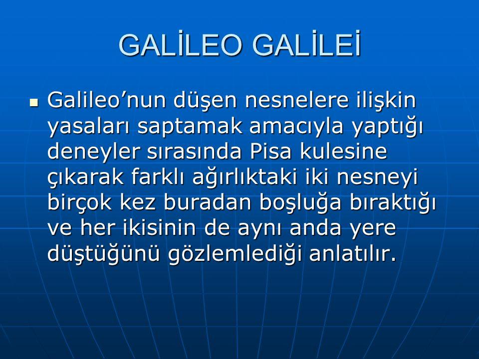 GALİLEO GALİLEİ Galileo'nun düşen nesnelere ilişkin yasaları saptamak amacıyla yaptığı deneyler sırasında Pisa kulesine çıkarak farklı ağırlıktaki iki nesneyi birçok kez buradan boşluğa bıraktığı ve her ikisinin de aynı anda yere düştüğünü gözlemlediği anlatılır.