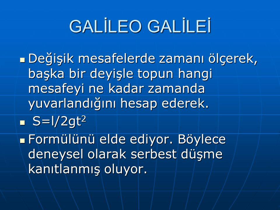 GALİLEO GALİLEİ Değişik mesafelerde zamanı ölçerek, başka bir deyişle topun hangi mesafeyi ne kadar zamanda yuvarlandığını hesap ederek. Değişik mesaf