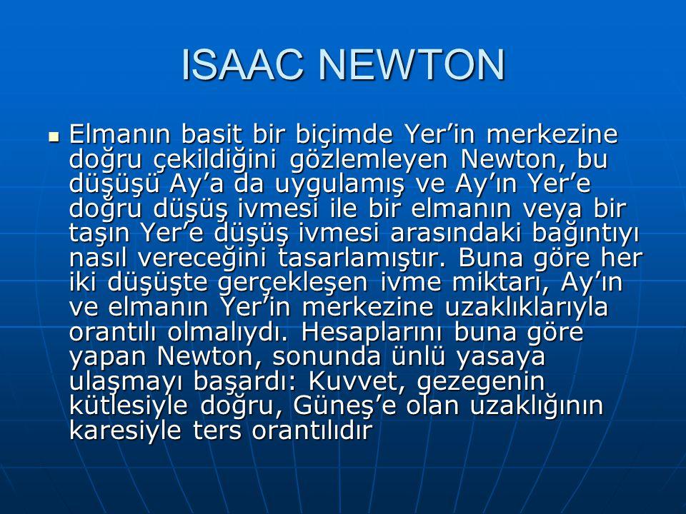 ISAAC NEWTON Elmanın basit bir biçimde Yer'in merkezine doğru çekildiğini gözlemleyen Newton, bu düşüşü Ay'a da uygulamış ve Ay'ın Yer'e doğru düşüş ivmesi ile bir elmanın veya bir taşın Yer'e düşüş ivmesi arasındaki bağıntıyı nasıl vereceğini tasarlamıştır.
