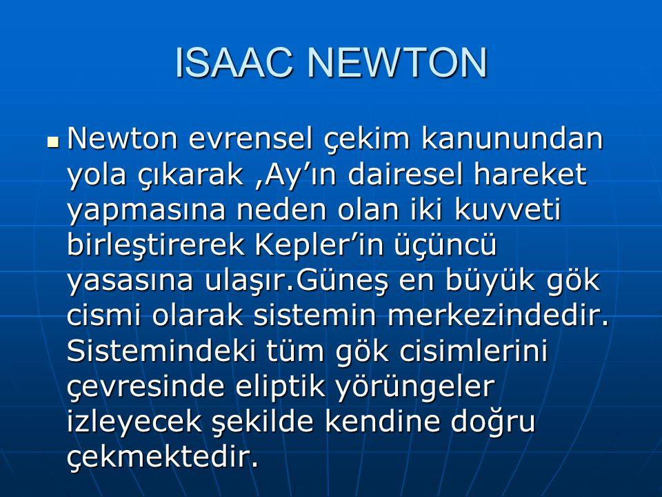 ISAAC NEWTON Newton evrensel çekim kanunundan yola çıkarak,Ay'ın dairesel hareket yapmasına neden olan iki kuvveti birleştirerek Kepler'in üçüncü yasasına ulaşır.Güneş en büyük gök cismi olarak sistemin merkezindedir.