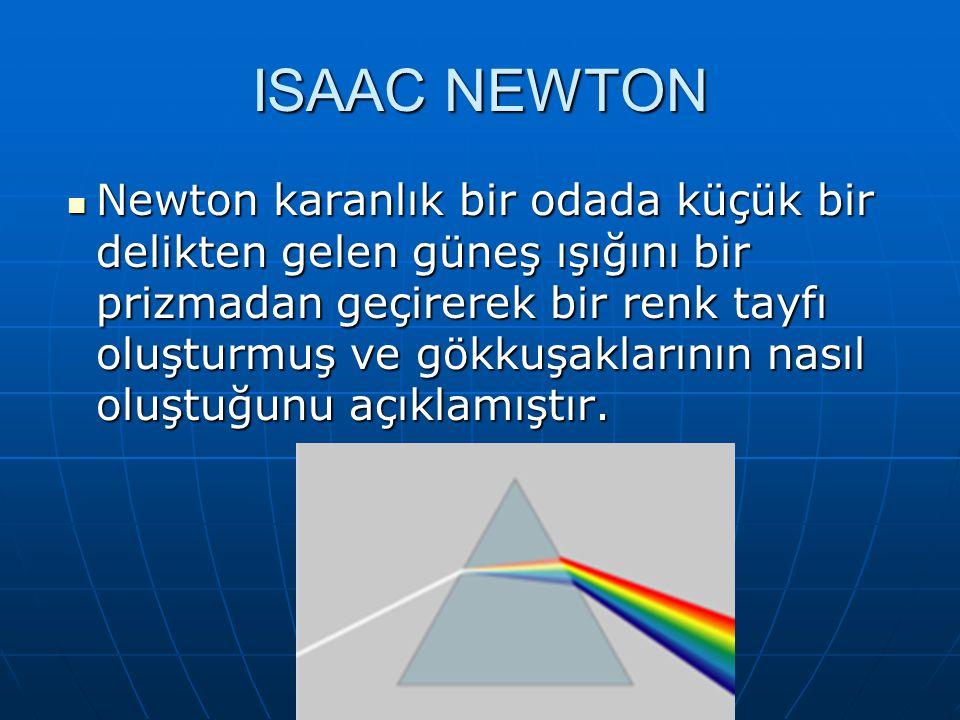 ISAAC NEWTON Newton karanlık bir odada küçük bir delikten gelen güneş ışığını bir prizmadan geçirerek bir renk tayfı oluşturmuş ve gökkuşaklarının nasıl oluştuğunu açıklamıştır.