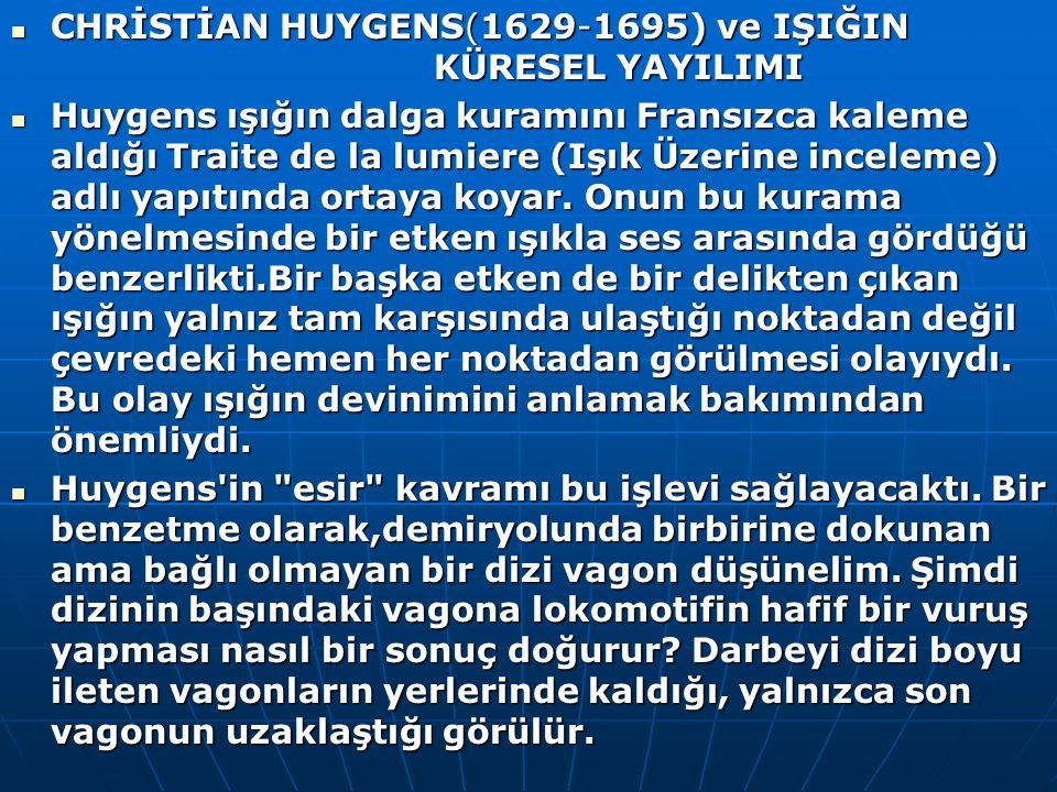 CHRİSTİAN HUYGENS(1629-1695) ve IŞIĞIN KÜRESEL YAYILIMI CHRİSTİAN HUYGENS(1629-1695) ve IŞIĞIN KÜRESEL YAYILIMI Huygens ışığın dalga kuramını Fransızca kaleme aldığı Traite de la lumiere (Işık Üzerine inceleme) adlı yapıtında ortaya koyar.