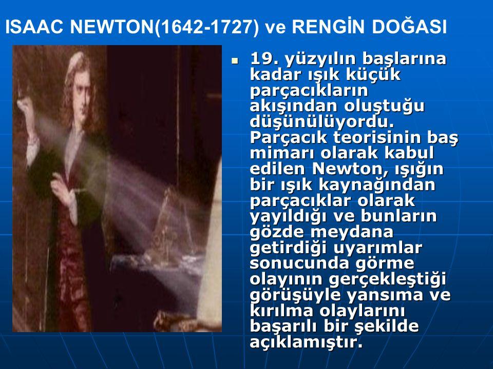 19. yüzyılın başlarına kadar ışık küçük parçacıkların akışından oluştuğu düşünülüyordu. Parçacık teorisinin baş mimarı olarak kabul edilen Newton, ışı