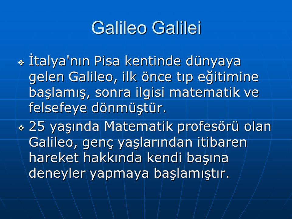 Galileo Galilei  İtalya nın Pisa kentinde dünyaya gelen Galileo, ilk önce tıp eğitimine başlamış, sonra ilgisi matematik ve felsefeye dönmüştür.