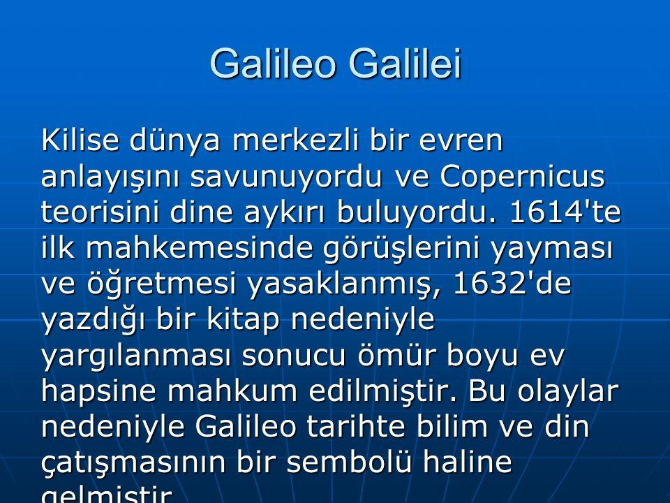 Galileo Galilei Kilise dünya merkezli bir evren anlayışını savunuyordu ve Copernicus teorisini dine aykırı buluyordu. 1614'te ilk mahkemesinde görüşle