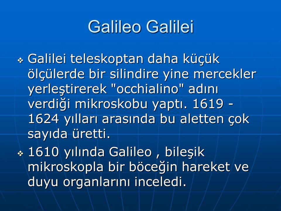 Galileo Galilei  Galilei teleskoptan daha küçük ölçülerde bir silindire yine mercekler yerleştirerek occhialino adını verdiği mikroskobu yaptı.