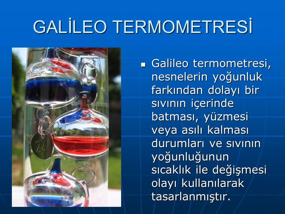 Galileo termometresi, nesnelerin yoğunluk farkından dolayı bir sıvının içerinde batması, yüzmesi veya asılı kalması durumları ve sıvının yoğunluğunun sıcaklık ile değişmesi olayı kullanılarak tasarlanmıştır.