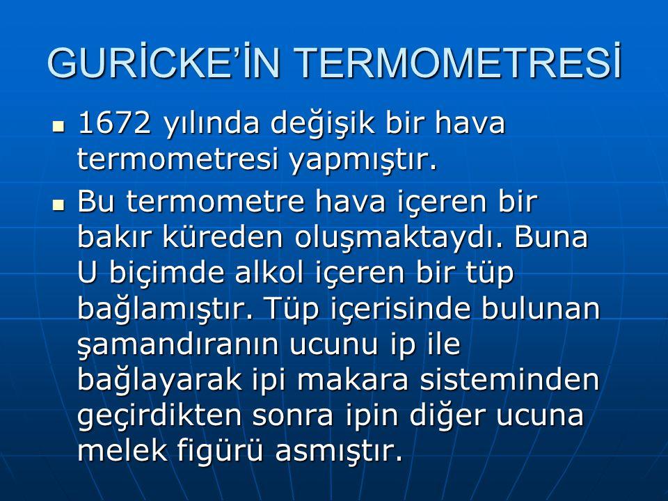 GURİCKE'İN TERMOMETRESİ 1672 yılında değişik bir hava termometresi yapmıştır. 1672 yılında değişik bir hava termometresi yapmıştır. Bu termometre hava